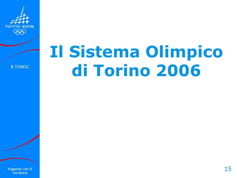 15 Il Sistema Olimpico di Torino 2006 Il TOROC Rapporti con il Territorio