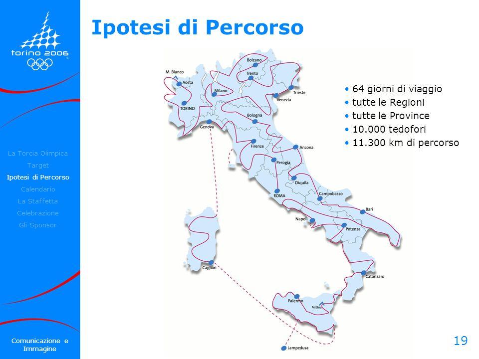 19 Ipotesi di Percorso 64 giorni di viaggio tutte le Regioni tutte le Province 10.000 tedofori 11.300 km di percorso La Torcia Olimpica Target Ipotesi