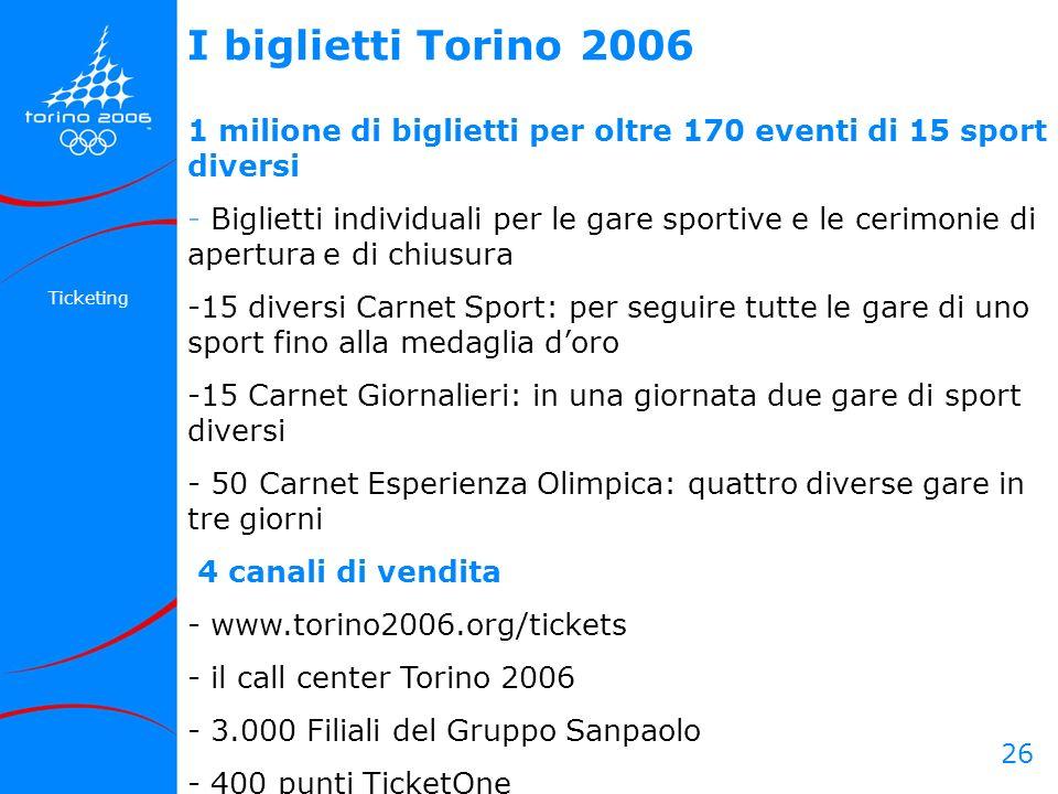 26 Ticketing 1 milione di biglietti per oltre 170 eventi di 15 sport diversi - Biglietti individuali per le gare sportive e le cerimonie di apertura e