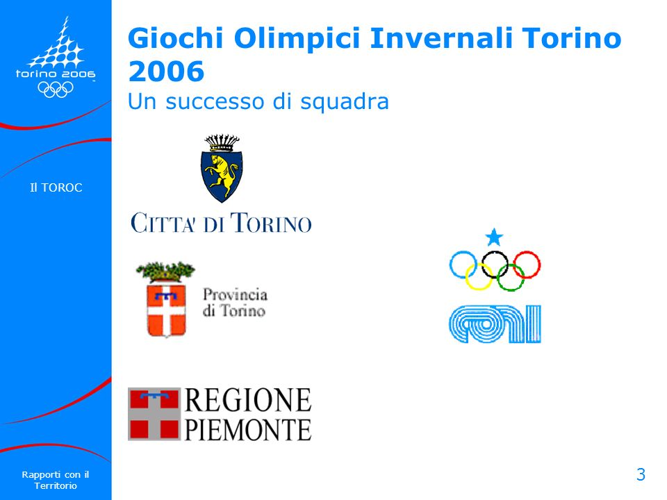 3 Giochi Olimpici Invernali Torino 2006 Un successo di squadra Il TOROC Rapporti con il Territorio