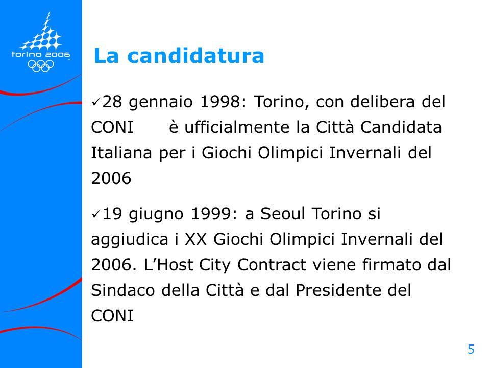 5 28 gennaio 1998: Torino, con delibera del CONI è ufficialmente la Città Candidata Italiana per i Giochi Olimpici Invernali del 2006 19 giugno 1999:
