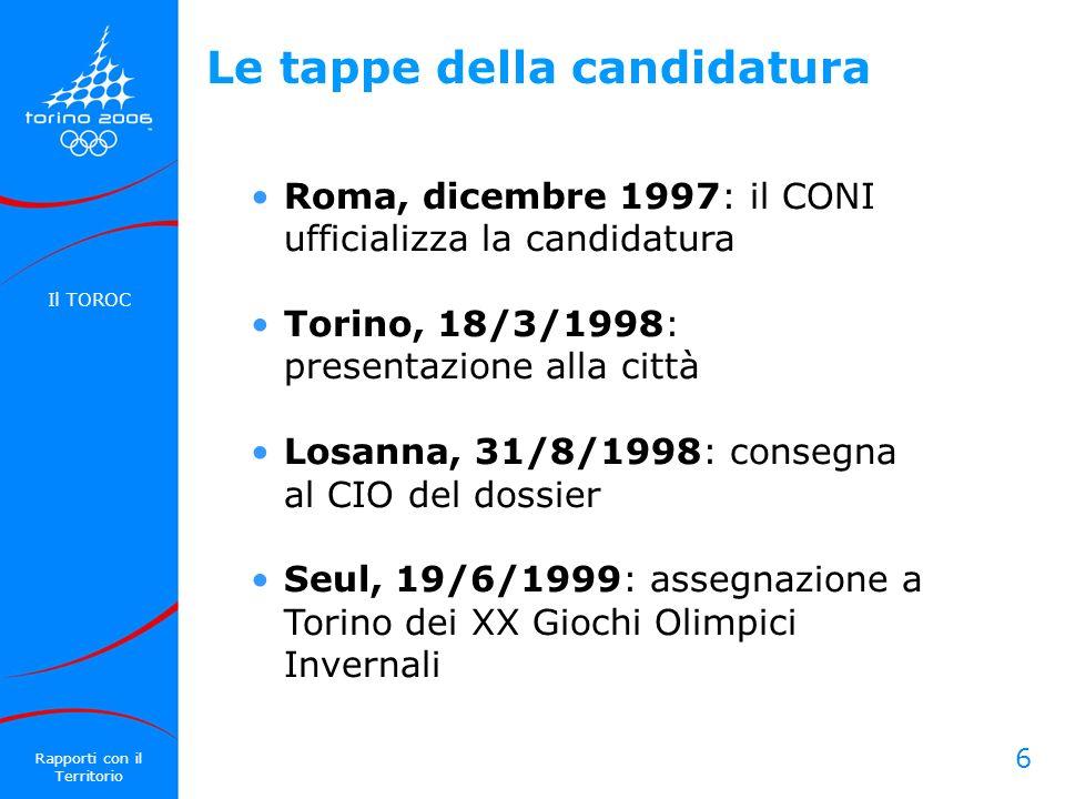 6 Le tappe della candidatura Roma, dicembre 1997: il CONI ufficializza la candidatura Torino, 18/3/1998: presentazione alla città Losanna, 31/8/1998: