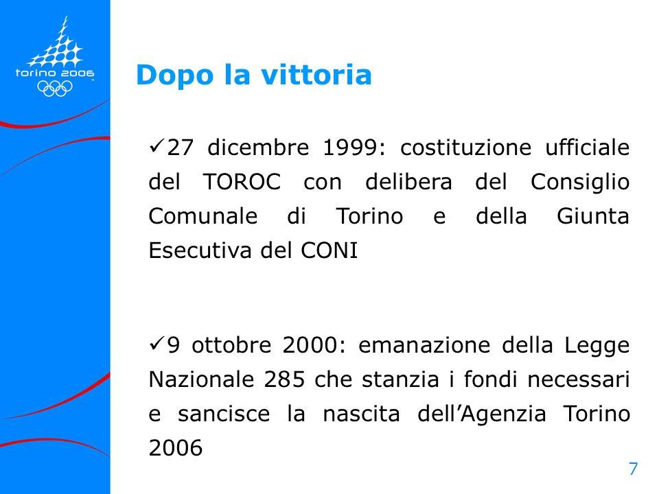 7 27 dicembre 1999: costituzione ufficiale del TOROC con delibera del Consiglio Comunale di Torino e della Giunta Esecutiva del CONI 9 ottobre 2000: e