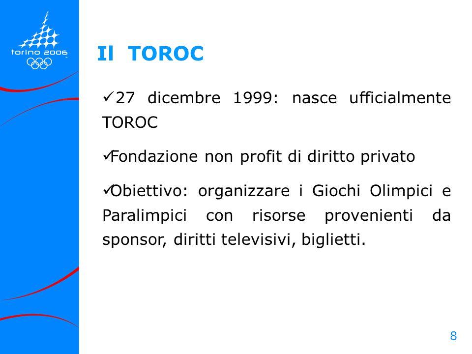 8 27 dicembre 1999: nasce ufficialmente TOROC Fondazione non profit di diritto privato Obiettivo: organizzare i Giochi Olimpici e Paralimpici con riso
