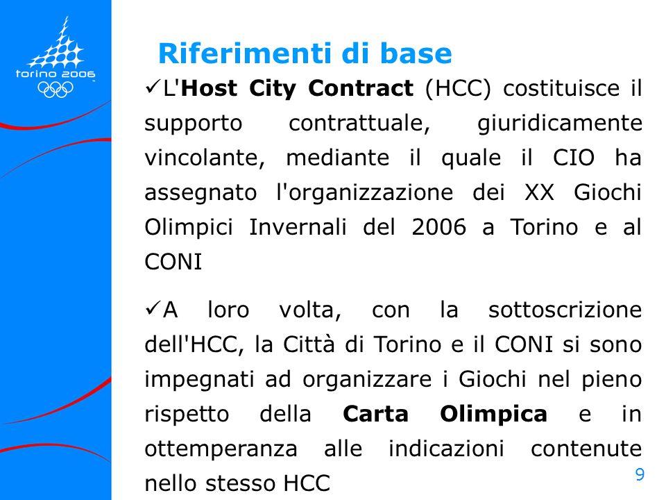 9 L'Host City Contract (HCC) costituisce il supporto contrattuale, giuridicamente vincolante, mediante il quale il CIO ha assegnato l'organizzazione d
