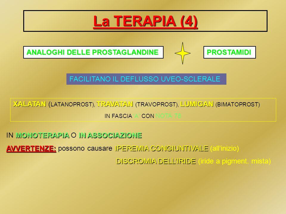La TERAPIA (4) ANALOGHI DELLE PROSTAGLANDINE FACILITANO IL DEFLUSSO UVEO-SCLERALE XALATANTRAVATAN LUMIGAN XALATAN ( LATANOPROST), TRAVATAN (TRAVOPROST