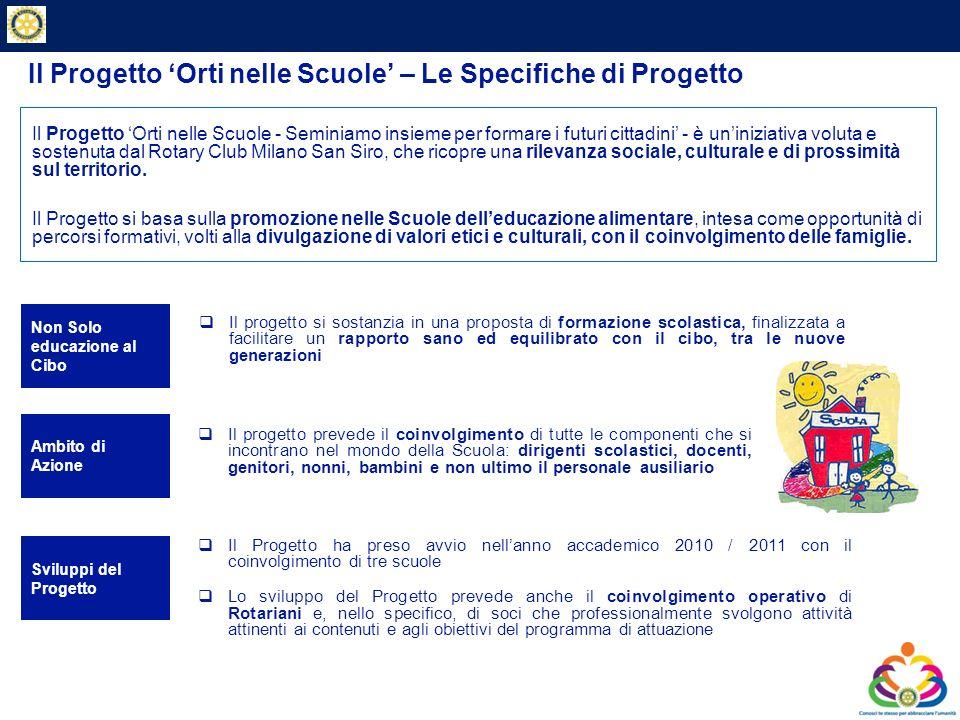 Private & Business Clients Il Progetto Orti nelle Scuole – Le Specifiche di Progetto Il progetto si sostanzia in una proposta di formazione scolastica