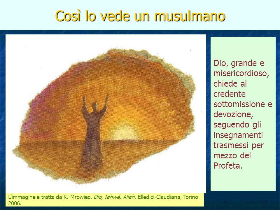 Così lo vede un musulmano Limmagine è tratta da K. Mrowiec, Dio, Iahwé, Allah, Elledici-Claudiana, Torino 2006. Dio, grande e misericordioso, chiede a