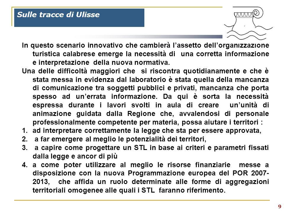 9 Sulle tracce di Ulisse In questo scenario innovativo che cambierà lassetto dellorganizzazione turistica calabrese emerge la necessità di una corretta informazione e interpretazione della nuova normativa.