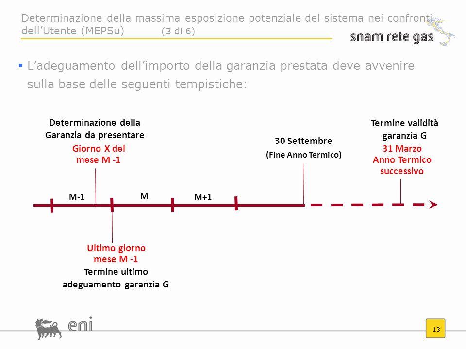 13 Giorno X del mese M -1 M-1M+1 M Ultimo giorno mese M -1 Determinazione della Garanzia da presentare Termine ultimo adeguamento garanzia G 30 Settem