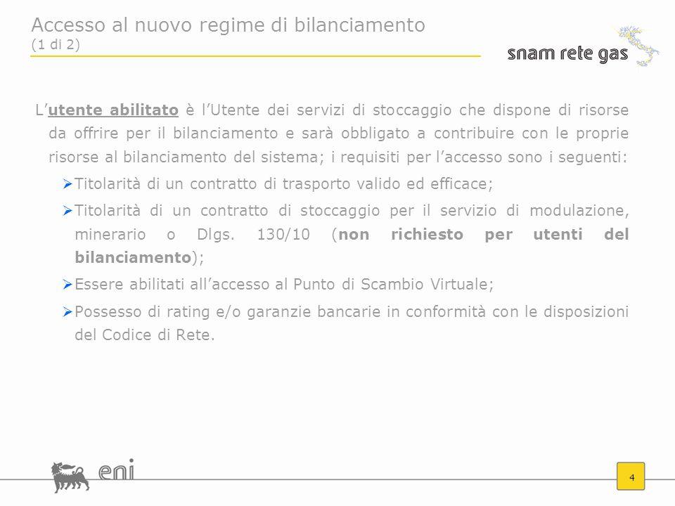 4 Accesso al nuovo regime di bilanciamento (1 di 2) Lutente abilitato è lUtente dei servizi di stoccaggio che dispone di risorse da offrire per il bil