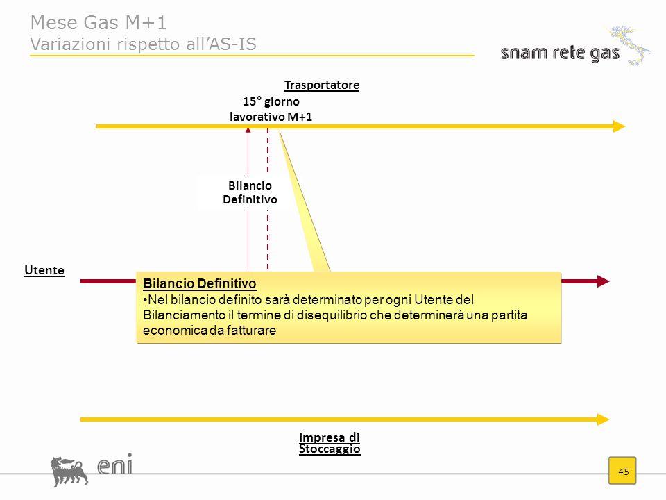 45 Mese Gas M+1 Variazioni rispetto allAS-IS Trasportatore Impresa di Stoccaggio 15° giorno lavorativo M+1 Bilancio Definitivo Nel bilancio definito s