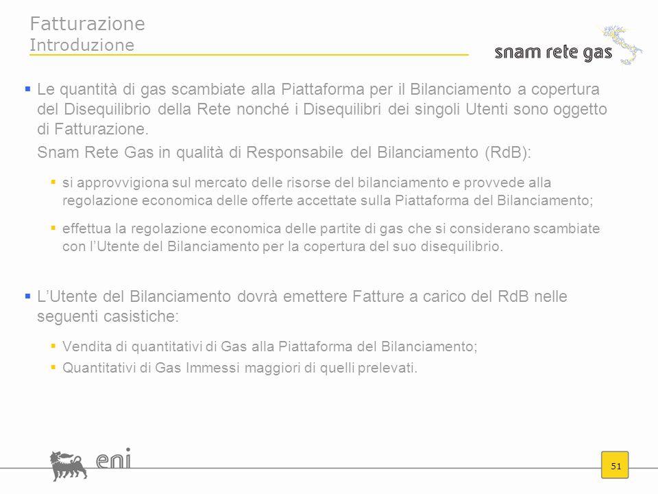51 Fatturazione Introduzione Le quantità di gas scambiate alla Piattaforma per il Bilanciamento a copertura del Disequilibrio della Rete nonché i Dise