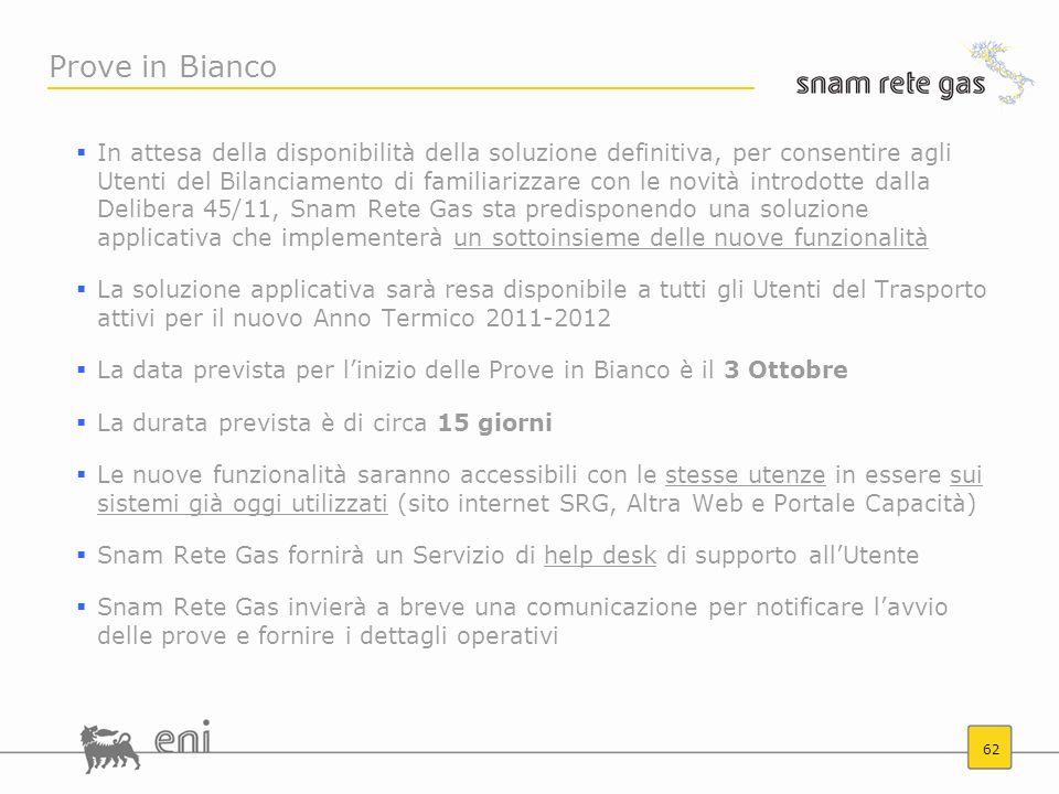 62 Prove in Bianco In attesa della disponibilità della soluzione definitiva, per consentire agli Utenti del Bilanciamento di familiarizzare con le nov