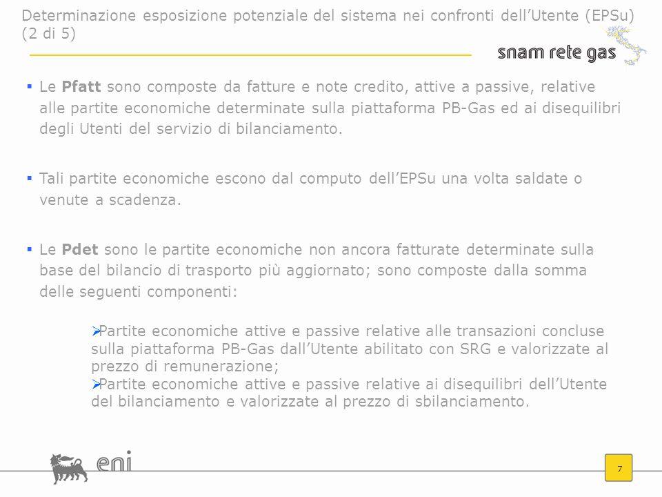 7 Le Pfatt sono composte da fatture e note credito, attive a passive, relative alle partite economiche determinate sulla piattaforma PB-Gas ed ai dise