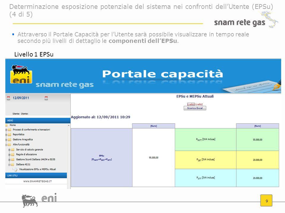 9 Attraverso il Portale Capacità per lUtente sarà possibile visualizzare in tempo reale secondo più livelli di dettaglio le componenti dellEPSu. Livel