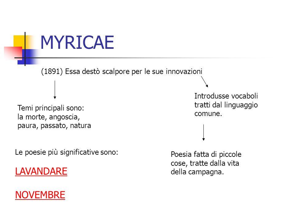 MYRICAE (1891) Essa destò scalpore per le sue innovazioni Introdusse vocaboli tratti dal linguaggio comune. Poesia fatta di piccole cose, tratte dalla
