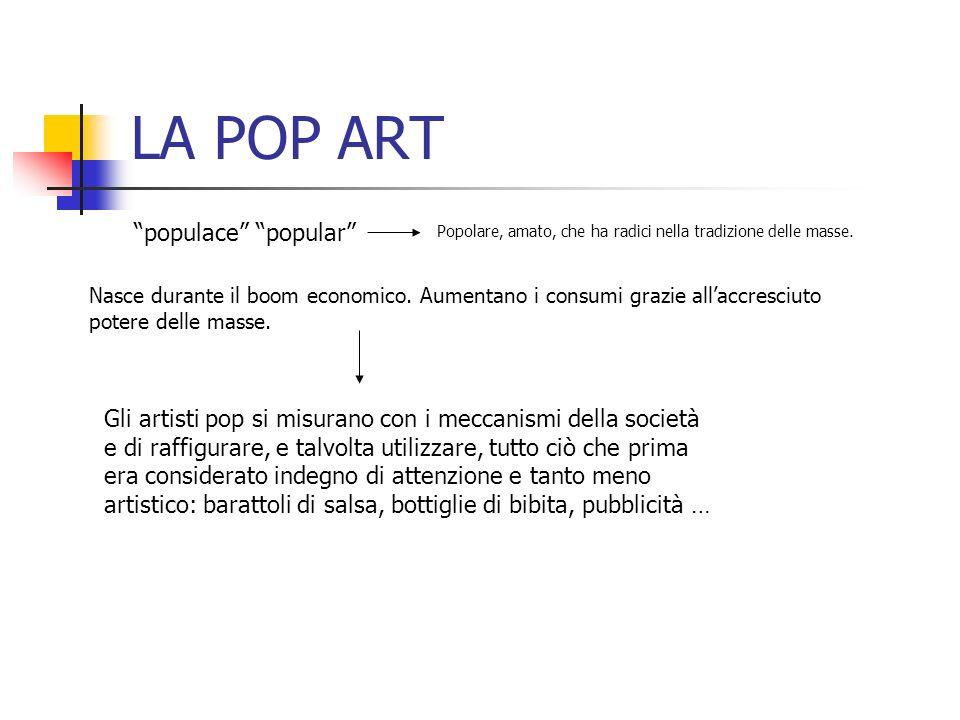 LA POP ART populace popular Popolare, amato, che ha radici nella tradizione delle masse. Nasce durante il boom economico. Aumentano i consumi grazie a