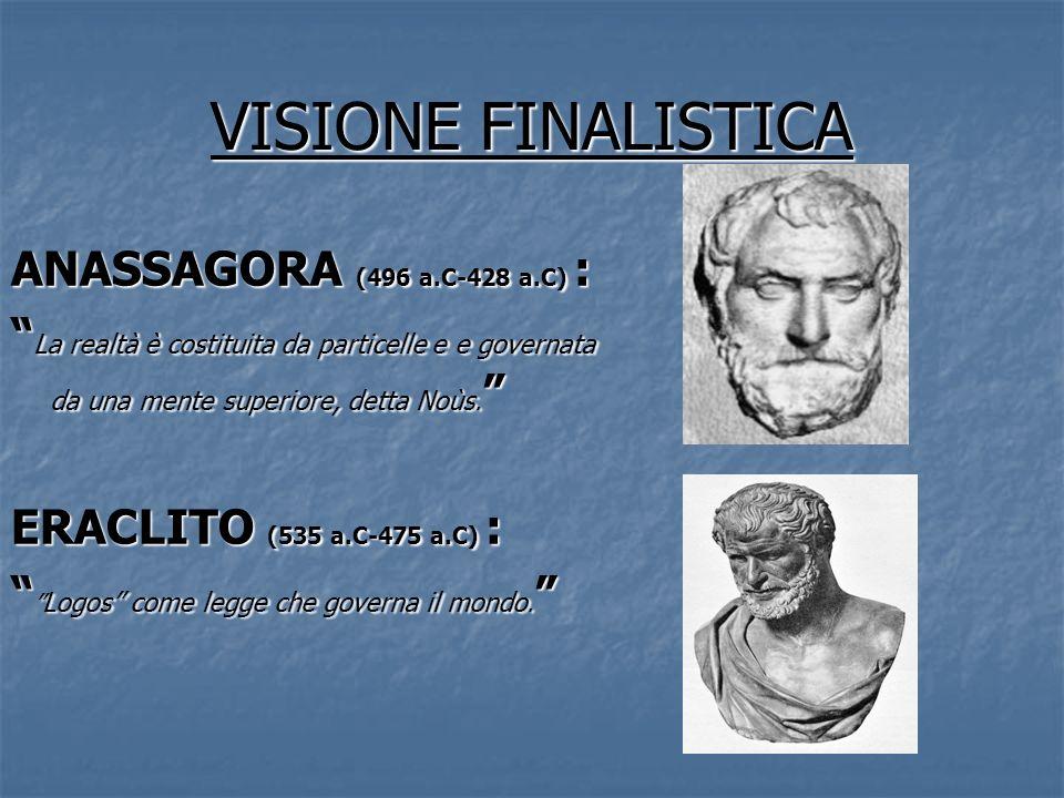 VISIONE FINALISTICA ANASSAGORA (496 a.C-428 a.C) : La realtà è costituita da particelle e e governata da una mente superiore, detta Noùs. La realtà è