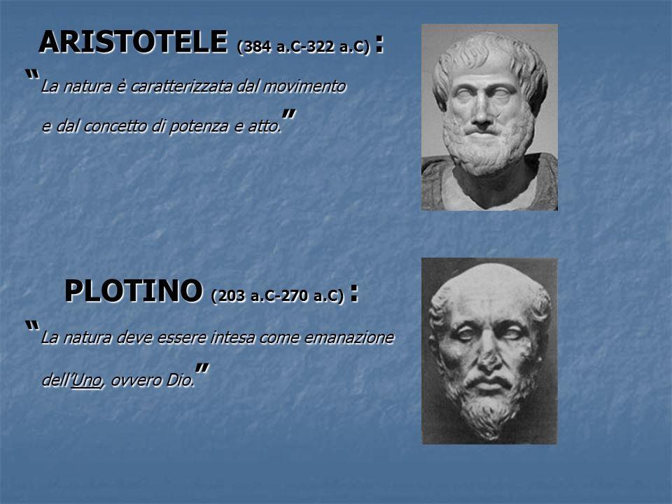 ARISTOTELE (384 a.C-322 a.C) : La natura è caratterizzata dal movimento La natura è caratterizzata dal movimento e dal concetto di potenza e atto. e d