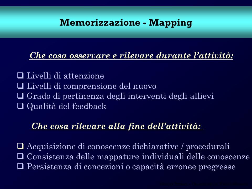 Fiorino Tessaro – Università Ca Foscari Venezia Memorizzazione - Mapping Che cosa osservare e rilevare durante lattività: Livelli di attenzione Livell