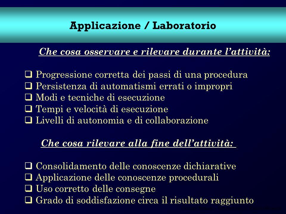 Fiorino Tessaro – Università Ca Foscari Venezia Applicazione / Laboratorio Che cosa osservare e rilevare durante lattività: Progressione corretta dei