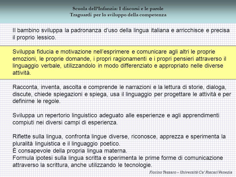 Fiorino Tessaro – Università Ca Foscari Venezia Scuola dellInfanzia: I discorsi e le parole Traguardi per lo sviluppo della competenza Il bambino svil