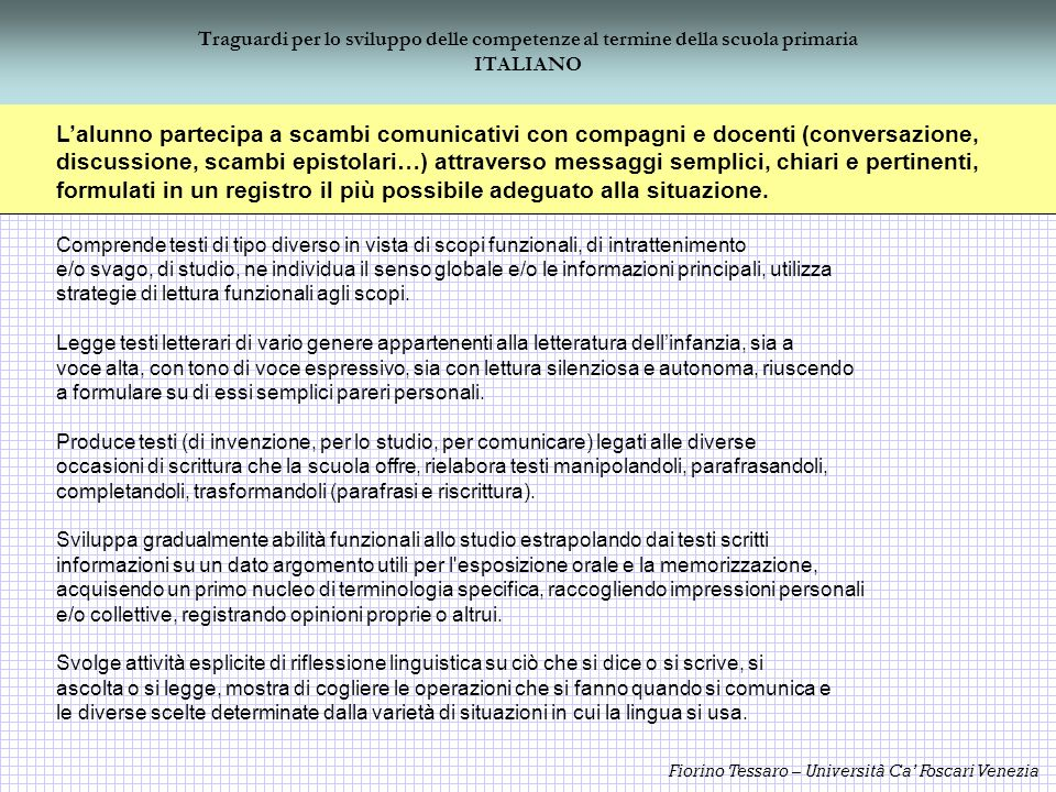 Fiorino Tessaro – Università Ca Foscari Venezia Traguardi per lo sviluppo delle competenze al termine della scuola primaria ITALIANO Lalunno partecipa
