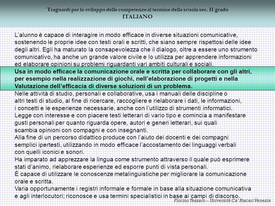 Fiorino Tessaro – Università Ca Foscari Venezia Traguardi per lo sviluppo delle competenze al termine della scuola sec. II grado ITALIANO Lalunno è ca