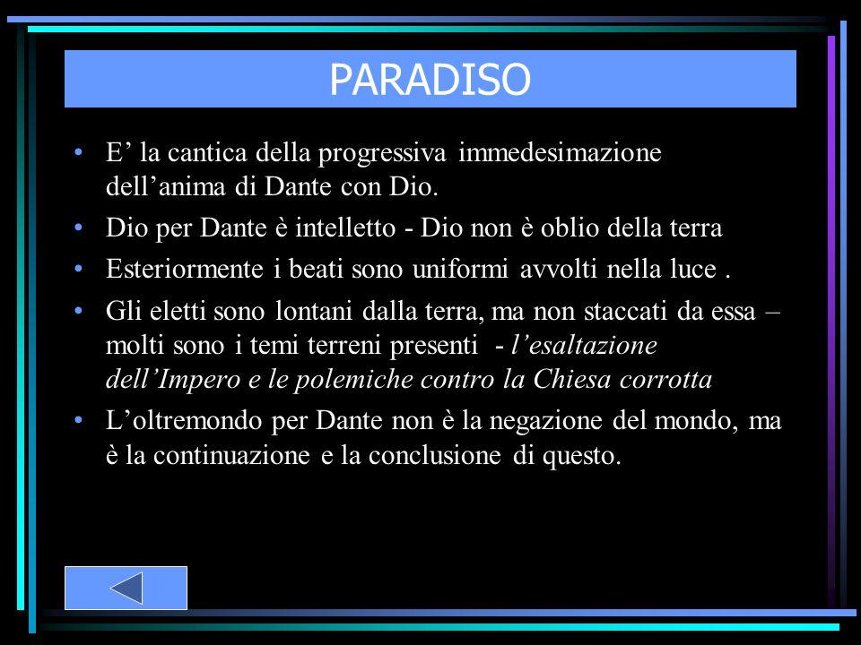 PARADISO E la cantica della progressiva immedesimazione dellanima di Dante con Dio. Dio per Dante è intelletto - Dio non è oblio della terra Esteriorm