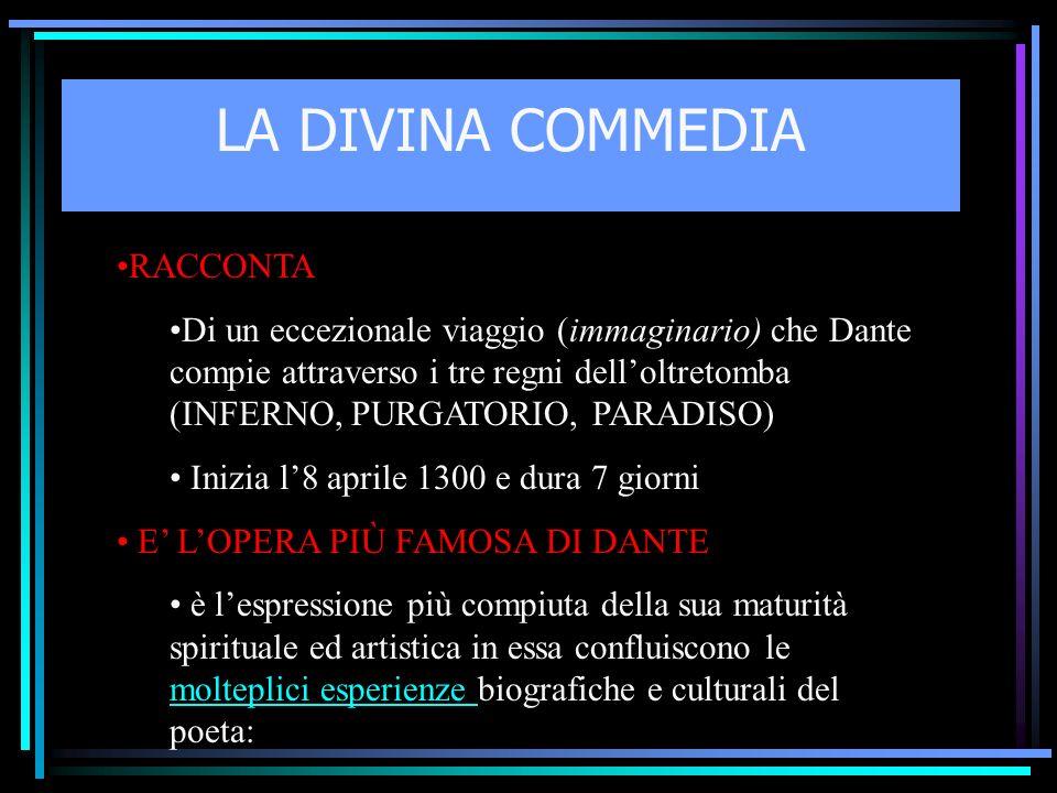 LA DIVINA COMMEDIA RACCONTA Di un eccezionale viaggio (immaginario) che Dante compie attraverso i tre regni delloltretomba (INFERNO, PURGATORIO, PARAD