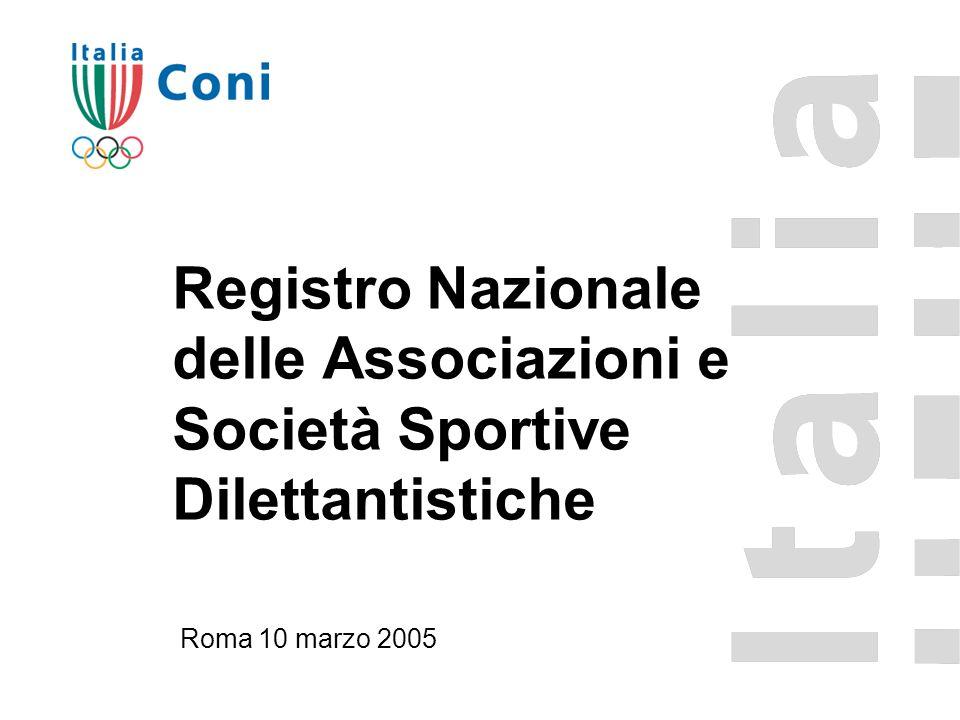 Registro Nazionale delle Associazioni e Società Sportive Dilettantistiche Roma 10 marzo 2005