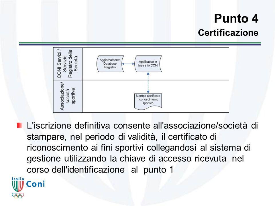 Punto 4 Certificazione L iscrizione definitiva consente all associazione/società di stampare, nel periodo di validità, il certificato di riconoscimento ai fini sportivi collegandosi al sistema di gestione utilizzando la chiave di accesso ricevuta nel corso dell identificazione al punto 1