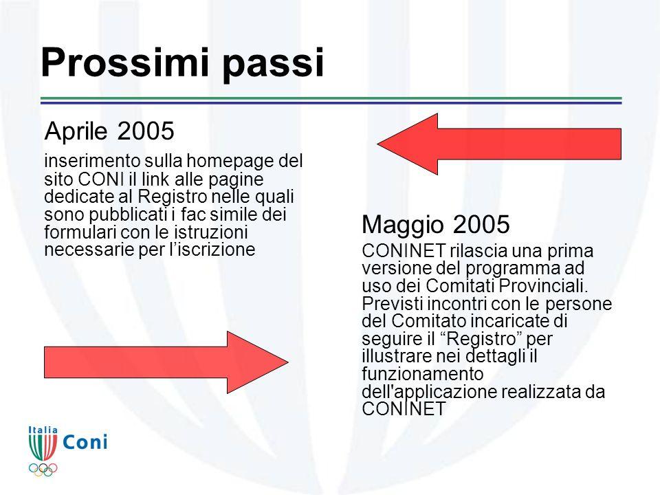 Prossimi passi Maggio 2005 CONINET rilascia una prima versione del programma ad uso dei Comitati Provinciali.