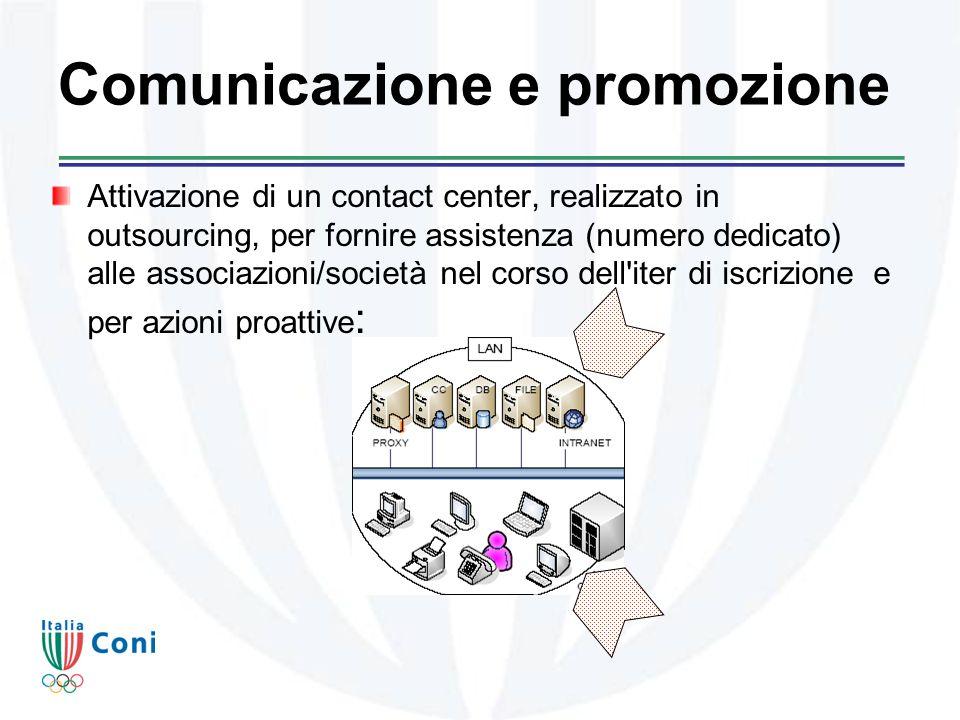 Comunicazione e promozione Attivazione di un contact center, realizzato in outsourcing, per fornire assistenza (numero dedicato) alle associazioni/società nel corso dell iter di iscrizione e per azioni proattive :