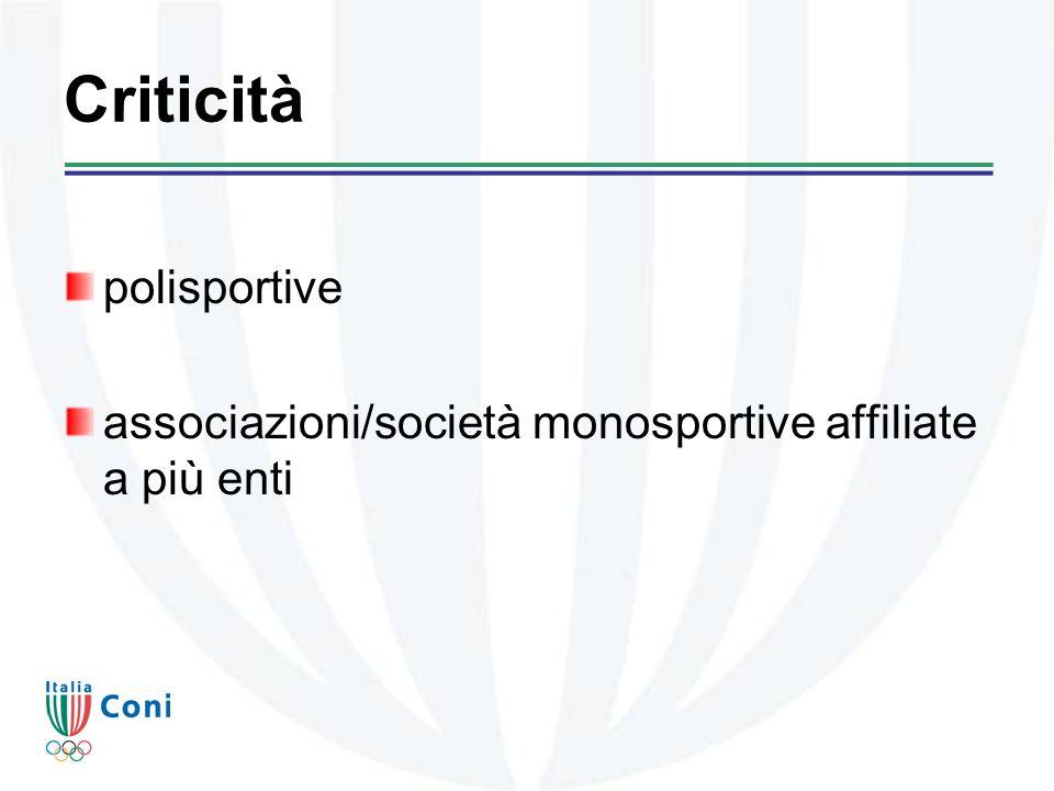 Criticità polisportive associazioni/società monosportive affiliate a più enti