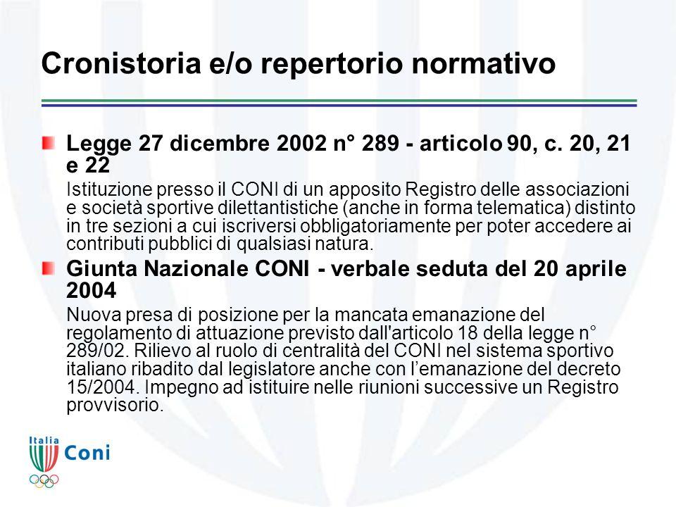Cronistoria e/o repertorio normativo Legge 27 dicembre 2002 n° 289 - articolo 90, c.