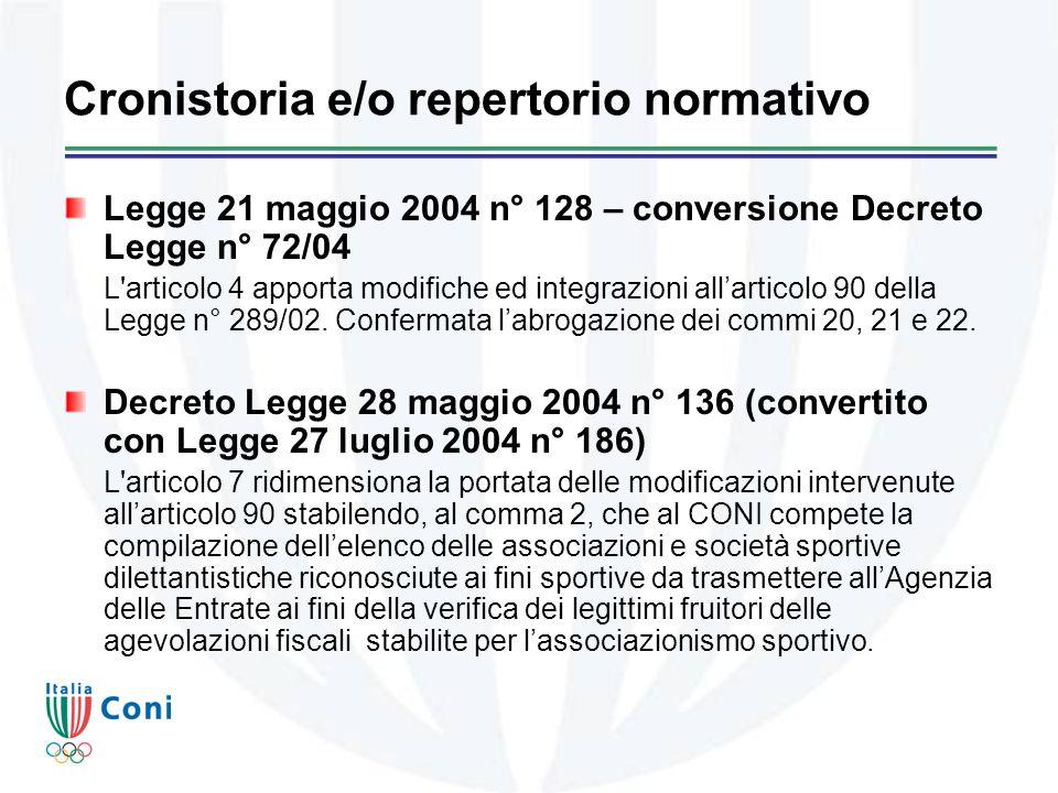 Cronistoria e/o repertorio normativo Legge 21 maggio 2004 n° 128 – conversione Decreto Legge n° 72/04 L articolo 4 apporta modifiche ed integrazioni allarticolo 90 della Legge n° 289/02.