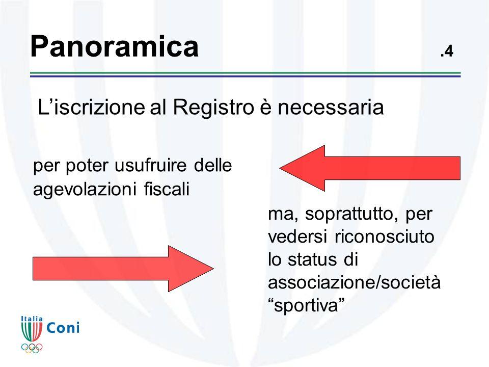 Panoramica.4 ma, soprattutto, per vedersi riconosciuto lo status di associazione/società sportiva per poter usufruire delle agevolazioni fiscali Liscrizione al Registro è necessaria