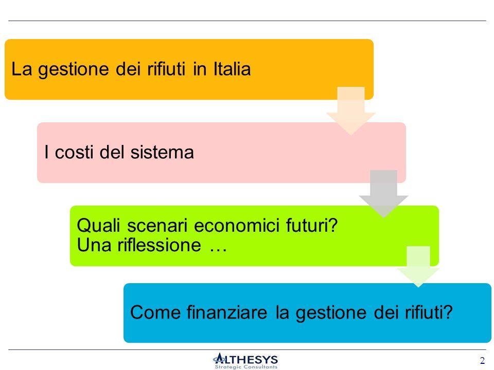 La gestione dei rifiuti in ItaliaI costi del sistema Quali scenari economici futuri? Una riflessione … 2 Come finanziare la gestione dei rifiuti?