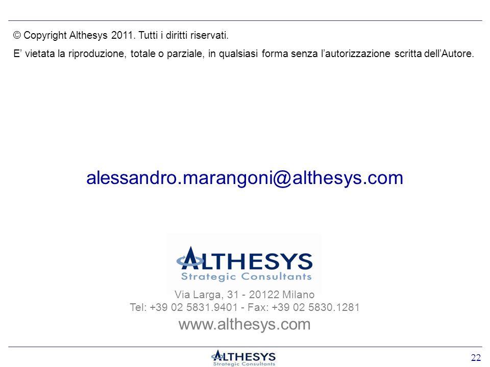 alessandro.marangoni@althesys.com Via Larga, 31 - 20122 Milano Tel: +39 02 5831.9401 - Fax: +39 02 5830.1281 www.althesys.com 22 © Copyright Althesys