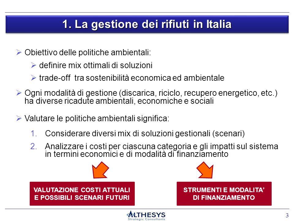 1. La gestione dei rifiuti in Italia 3 Obiettivo delle politiche ambientali: definire mix ottimali di soluzioni trade-off tra sostenibilità economica