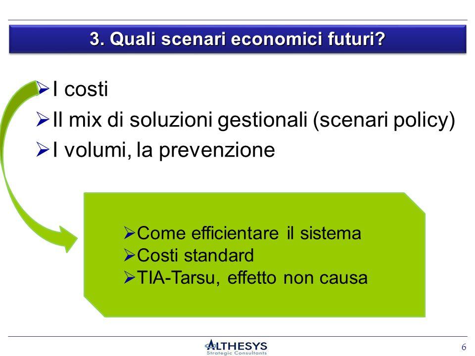 I costi Il mix di soluzioni gestionali (scenari policy) I volumi, la prevenzione 3. Quali scenari economici futuri? Come efficientare il sistema Costi