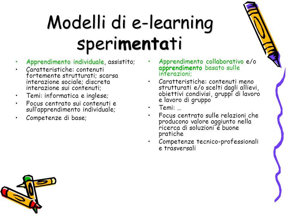 Modelli di e-learning sperimentati Apprendimento individualeApprendimento individuale, assistito; Caratteristiche: contenuti fortemente strutturati; s