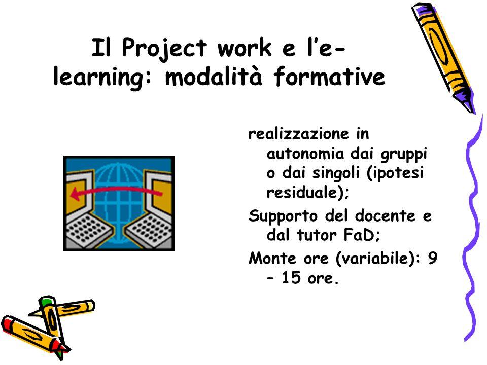 Il Project work e le- learning: modalità formative realizzazione in autonomia dai gruppi o dai singoli (ipotesi residuale); Supporto del docente e dal tutor FaD; Monte ore (variabile): 9 – 15 ore.