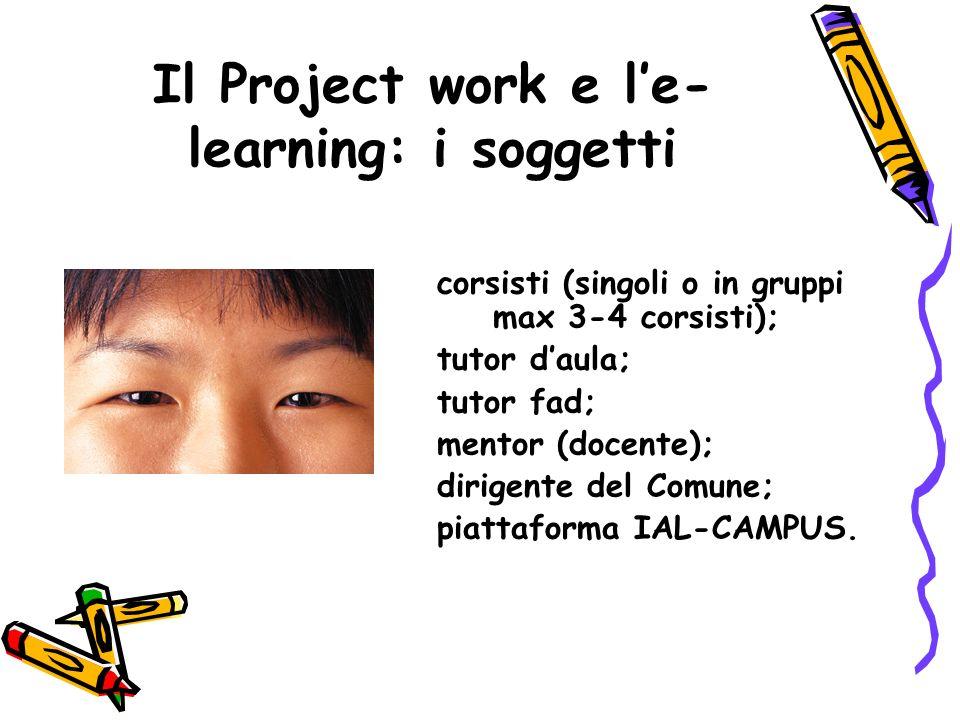 Il Project work e le- learning: i soggetti corsisti (singoli o in gruppi max 3-4 corsisti); tutor daula; tutor fad; mentor (docente); dirigente del Comune; piattaforma IAL-CAMPUS.