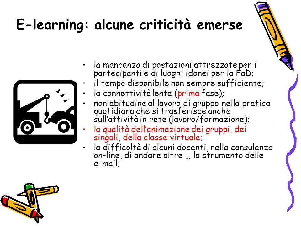 E-learning: alcune criticità emerse la mancanza di postazioni attrezzate per i partecipanti e di luoghi idonei per la FaD; il tempo disponibile non se