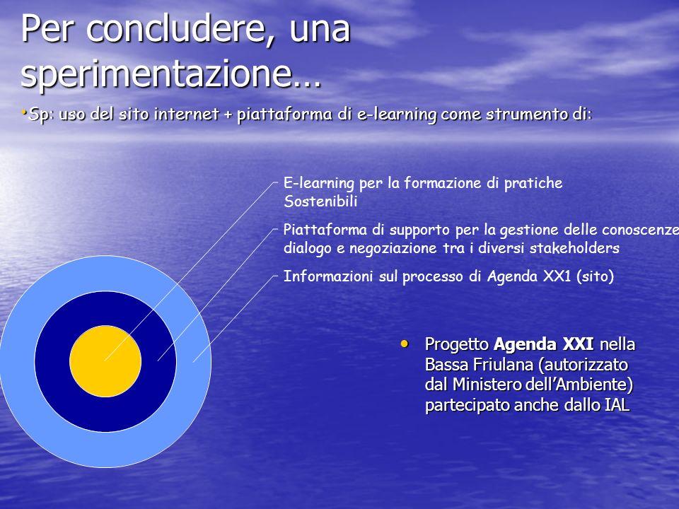 Per concludere, una sperimentazione… Progetto Agenda XXI nella Bassa Friulana (autorizzato dal Ministero dellAmbiente) partecipato anche dallo IAL Pro