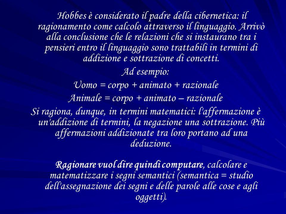 Hobbes è considerato il padre della cibernetica: il ragionamento come calcolo attraverso il linguaggio.