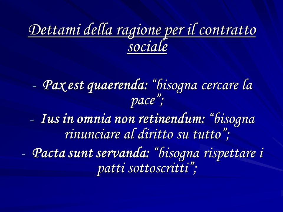 Dettami della ragione per il contratto sociale - Pax est quaerenda: bisogna cercare la pace; - Ius in omnia non retinendum: bisogna rinunciare al diritto su tutto; - Pacta sunt servanda: bisogna rispettare i patti sottoscritti;